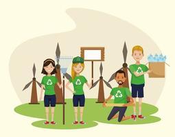 groupe d & # 39; écologistes recyclant des personnages vecteur