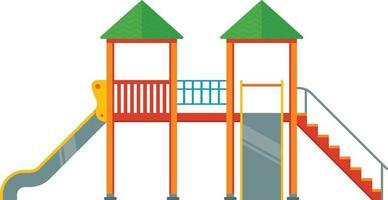 aire de jeux avec toboggans. complexe dans la cour sur fond blanc. illustration vectorielle plane vecteur