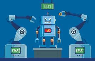 installation de production de robots à griffes. du tableau de bord en haut. illustration vectorielle de caractère.