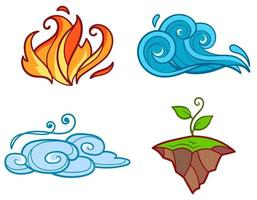 quatre éléments en style cartoon. vecteur