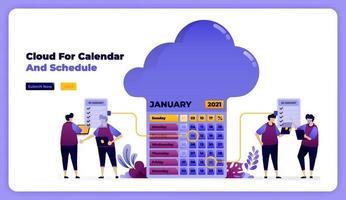 stockage et achèvement de la programmation sur le calendrier de travail de janvier. illustration vectorielle pour page de destination, bannière, site Web, web, affiche, applications mobiles, ui ux, page d'accueil, médias sociaux, dépliant, brochure vecteur