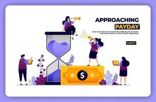 illustration de la page d'accueil de l'approche du jour de paie. gérer le temps et les paiements financiers. conçu pour la page de destination, la bannière, le site Web, le web, l'affiche, les applications mobiles, la page d'accueil, les médias sociaux, le dépliant, la brochure, l'interface utilisateur ux vecteur