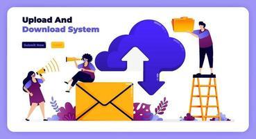 Internet télécharger et télécharger le réseau sur le système cloud et les services de messagerie. illustration vectorielle pour page de destination, bannière, site Web, web, affiche, applications mobiles, ui ux, page d'accueil, médias sociaux, dépliant, brochure vecteur