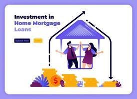 investissement dans les prêts immobiliers familiaux avec augmentation des rendements à long terme. illustration vectorielle pour page de destination, bannière, site Web, web, affiche, applications mobiles, ui ux, page d'accueil, médias sociaux, dépliant, brochure vecteur