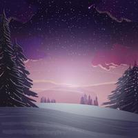 coucher de soleil dans la forêt de pins d'hiver, paysage d'hiver. Prairie enneigée avec des pins autour sur fond avec coucher de soleil violet