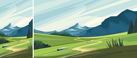 paysage de montagne avec route vecteur