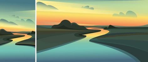 paysage fluvial au coucher du soleil vecteur
