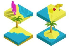 Illustration isométrique de vecteur 3D, voyage et vacances tropiques de l'île de plage d'été, collection d'infographie concept