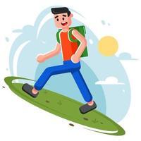 jeune homme monte la colline. randonnée dans la nature. illustration vectorielle plane drôle. vecteur