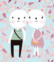 joli couple d'ours en peluche en fleur de printemps rose vecteur