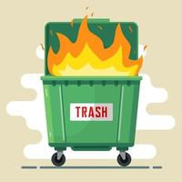 la poubelle brûle. violation des règles. nuire à la nature et aux personnes. mauvaise écologie. illustration vectorielle plane