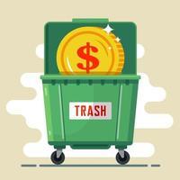 pièce de monnaie dollar dans la poubelle. devise par défaut. crise dans le pays. illustration vectorielle plane