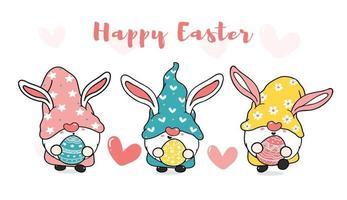 trois gnomes de lapin de Pâques doux mignons avec des oreilles de lapin, bannière de vecteur de dessin animé joyeuses Pâques