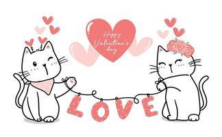 Couple de chat mignon Saint-Valentin avec amour de coeur, bonne Saint-Valentin, vecteur de coeur rose contour dessin animé chat mignon pour bannière, trucs imprimables, carte de voeux