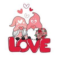 Deux couple de gnome romantique Saint-Valentin sur clipart de lettre d'amour rouge, vecteur de dessin animé d'amour heureux