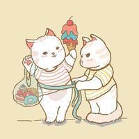 chat mignon mesure dame chat tenant la crème glacée et le sac sucré, couple de chat, dessin de doodle ligne élément vecteur plat, idée pour impression de trucs de crèche enfant, carte de voeux