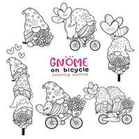 Collection de contour de coloriage mignon gnome Saint-Valentin, jeu de timbres numériques Saint-Valentin douce, jeu de dessin doodle dessin animé gnome vecteur
