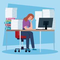 femme déprimée sur le lieu de travail vecteur