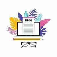 article de blog, blogs, gestion de contenu, travail indépendant, rédacteur d'article, conception d'illustration vectorielle plane copywritter pour bannières Web et applications