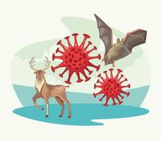 chauve-souris et renne avec coronavirus vecteur