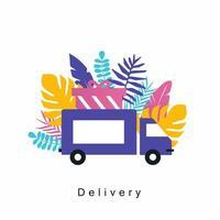 service de livraison de camion, livraison à domicile, service de messagerie, transport, conception d'illustration vectorielle plane expédition de fret conception de livraison de colis pour bannières Web et applications