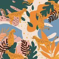 léopards et feuilles tropicales affiche fond illustration vectorielle. motif de la faune à la mode vecteur