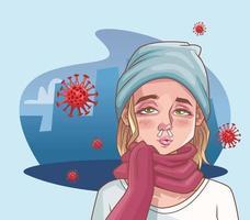 femme malade du coronavirus vecteur