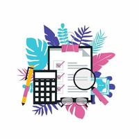 analyse commerciale, comptabilité, rapport financier, gestion de budget, conception d'illustration vectorielle concept financier pour bannières Web et applications