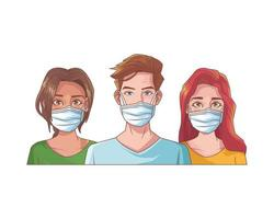 jeunes avec des masques médicaux vecteur