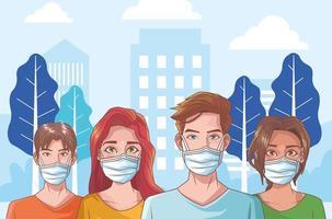 groupe de personnes atteintes de coronavirus vecteur