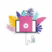 conception d'illustration vectorielle plane e-commerce. achats en ligne, remises et ventes. conception de bannières Web et d'applications