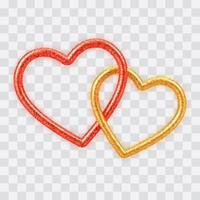 abstrait 3d réaliste coeurs dorés et rouges avec texture de paillettes