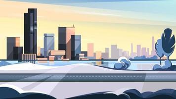 paysage urbain d'hiver avec route et lac vecteur