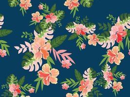 modèle sans couture de fleur tropicale vintage vecteur