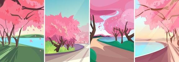 paysages avec ensemble de sakura en fleurs vecteur