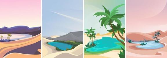 collection de paysages d'oasis vecteur