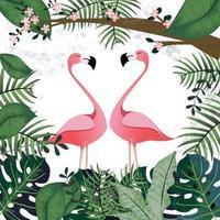 amant de flamants roses dans la jungle tropicale rose