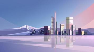 ville d'hiver avec lac et montagnes vecteur