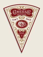 modèle d'étiquette de fromage triangulaire de vecteur dans un style vintage