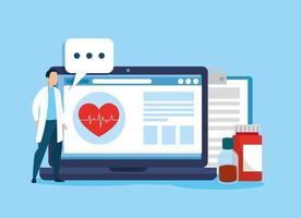 technologie en ligne de médecine avec ordinateur portable et icônes