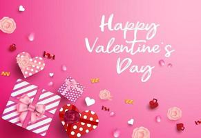 bannière de vente joyeuse saint valentin, affiche avec boîte-cadeau vue de dessus en forme de coeur vecteur