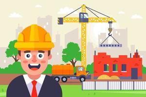 architecte dans un casque jaune sur le fond d'un chantier de construction. chantier de construction d'un immeuble de plusieurs étages. illustration vectorielle plane. vecteur