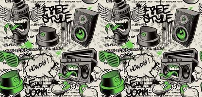 fond de mur de graffiti, modèle sans couture de graffiti avec différents caractères de graffiti vecteur
