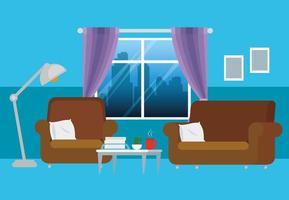 salon maison avec canapés vecteur