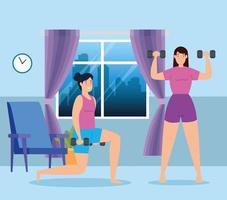 femmes soulevant des poids dans la maison