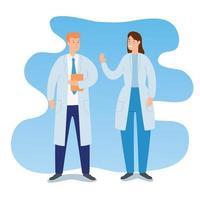 couple de personnages avatar médecins