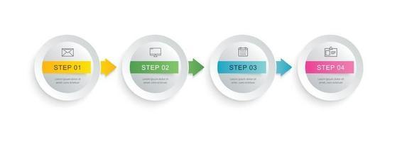 Infographie étape 4 cercle avec modèle de chronologie abstraite. présentation étape entreprise fond moderne.