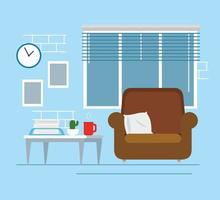 salon maison avec canapé vecteur