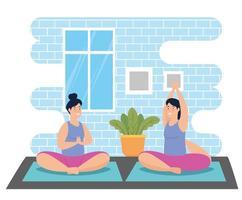 femmes faisant du yoga dans la maison