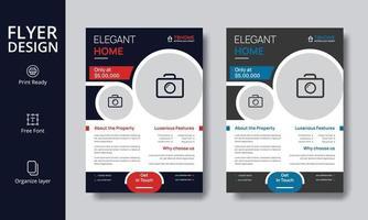 conception créative de flyer immobilier moderne rouge et bleu pour une maison élégante